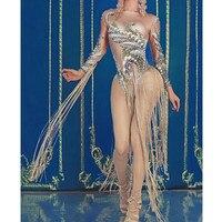 Women Sexy Long Tassel Stage Skinny Bodysuit Pearls Rhinestones Dancer Bodysuits Nightclub Singer Leotard Pole Dance Costumes