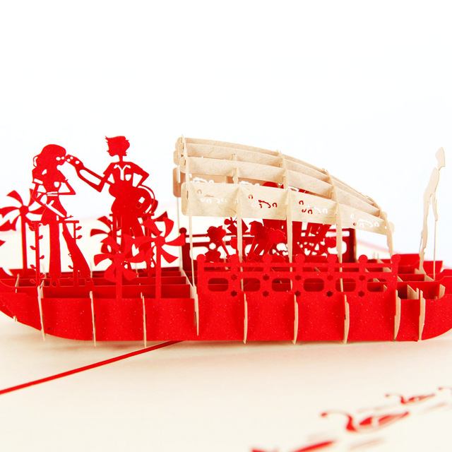 Lover Boat Kirigami & Origami 3D Pop UP Greeting Cards Valentine's day artesanato paper arts and crafts postcard CD079 30pcs in one postcard take a walk on the go dubai arab emirates christmas postcards greeting birthday message cards 10 2x14 2cm