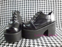 Princess sweet gothic lolita shoes Loliloliyoyo antaina Japanese design shoes custom black bright skin thick heel shoes 1423s-1