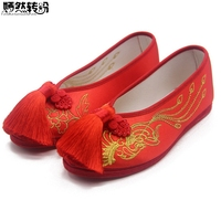 Vintage Women Flats Bride Red Shoes Chinese Wedding Satin Embroidered Tassel National Breathable Dance Single Ballet