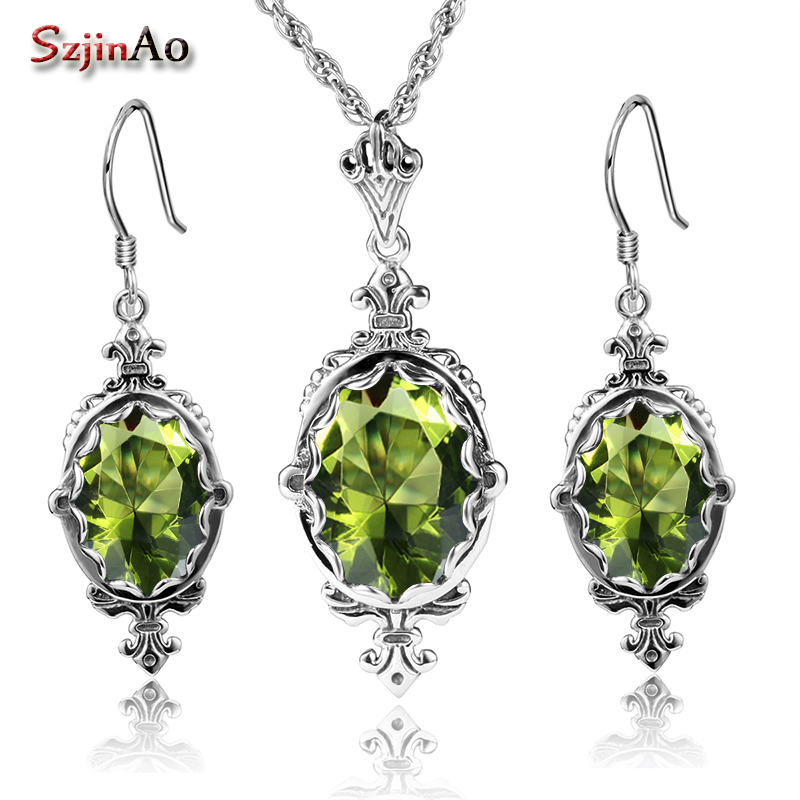 Szjinao Authentic 925 Sterling Silver Set Bridal Jewelry Olive African Wedding Jewelry Sets For Women Handmade Earrings/PendantSzjinao Authentic 925 Sterling Silver Set Bridal Jewelry Olive African Wedding Jewelry Sets For Women Handmade Earrings/Pendant