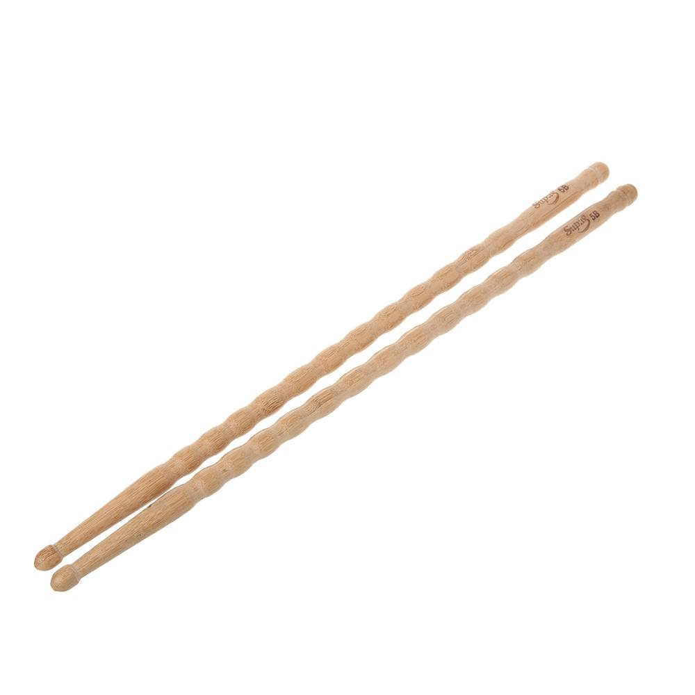 Wavy Pattern Bamboo Drumsticks 5B Drum Stick Durable Practical 1 Pair in Parts Accessories from Sports Entertainment