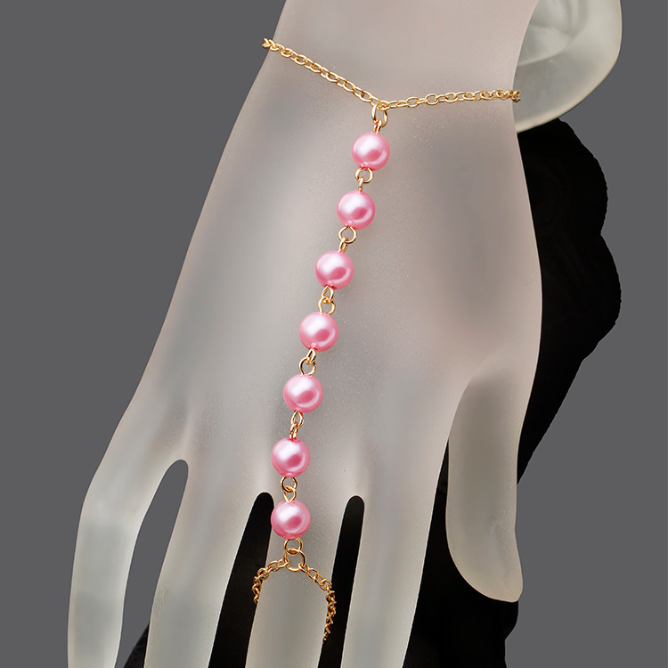 online buy whole hand harness bracelet from hand harness pulseira jewelry imitation pearls chain linked bracelet elegant finger loop women s wire harness hand