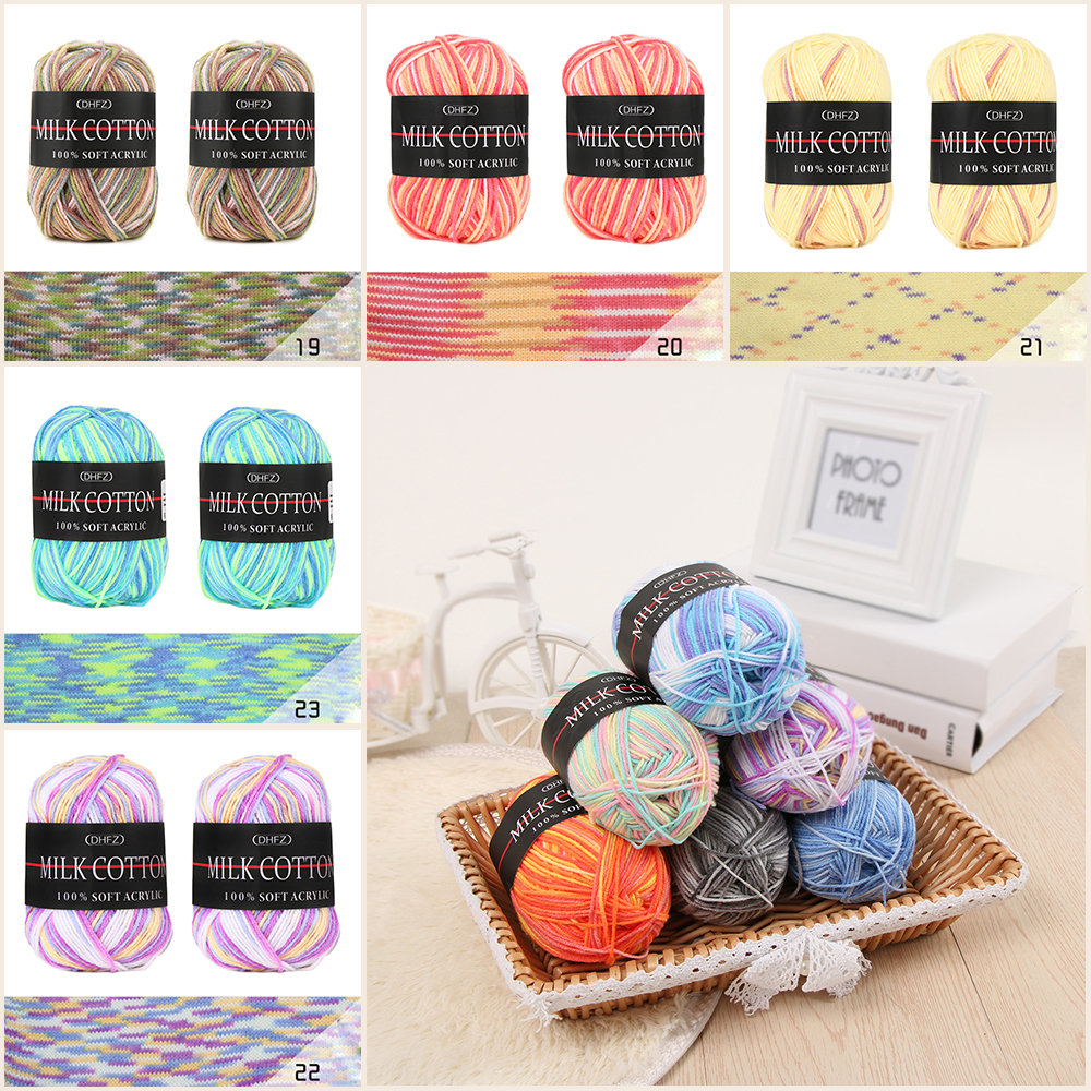 Smooth Colorful Mixed Job Lot 23 Colour 50g DK Knitting Crochet Milk DIY Craft Soft Baby Cotton Wool Yarn Sewing Accessories