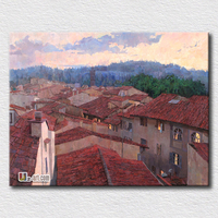 The Roof Oil Painting Red Roof Piture Canvas Printing Landscape High Quality Art For Office Decoration