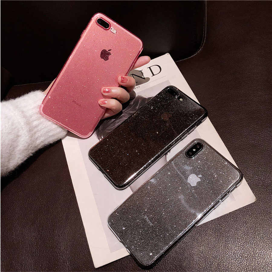 Bling Soft สำหรับ iPhone 6 6 S 7 8 Plus XsMax XS กรณี X XR Xs Max Luxury glitter โปร่งใส TPU Back Cover Fundas Capa