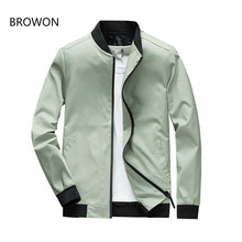 BROWON 2019 Jacket Men Fashion Casual Slim Fit Mens Jacket Spring Autumn Sportswear Bomber Jacket Mens Jackets Men and Coats(China)