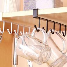 6 Hooks Cup Holder Hang Kitchen Cabinet Under Shelf Storage Rack Organiser Hook Drop Shipping(China)