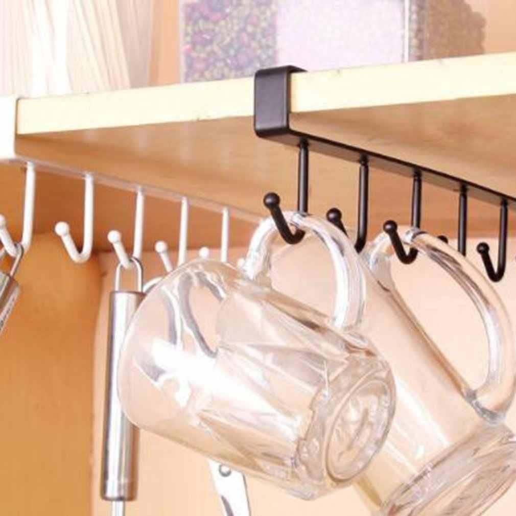 6 крючков, держатель для чашки, кухонный шкаф под полкой, вешалка для хранения, органайзер, крючок, Прямая поставка