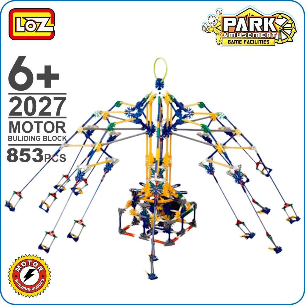 LOZ amis blocs de construction de moteur montagnes russes bricolage modèle rotatif balançoire jouets batterie briques parc d'attractions blocs Technic 2027