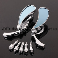 Chrome Motorcycle Rearview Side Mirrors 10mm Teardrop Skull Mirrors For Harley Softail Dyna Chopper Bobber Road