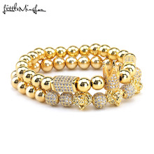 luxury Crown bracelets set Pave Cubic zirconia ball lion head Charms beads handmade men Bracelets & Bangles for Jewelry