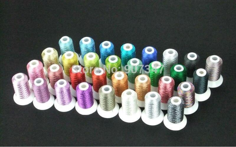 30 Mini Spools Glitter Metallic Computer Machine Embroidery Thread Filament 500m 30 Assorted Colors Kit 150d
