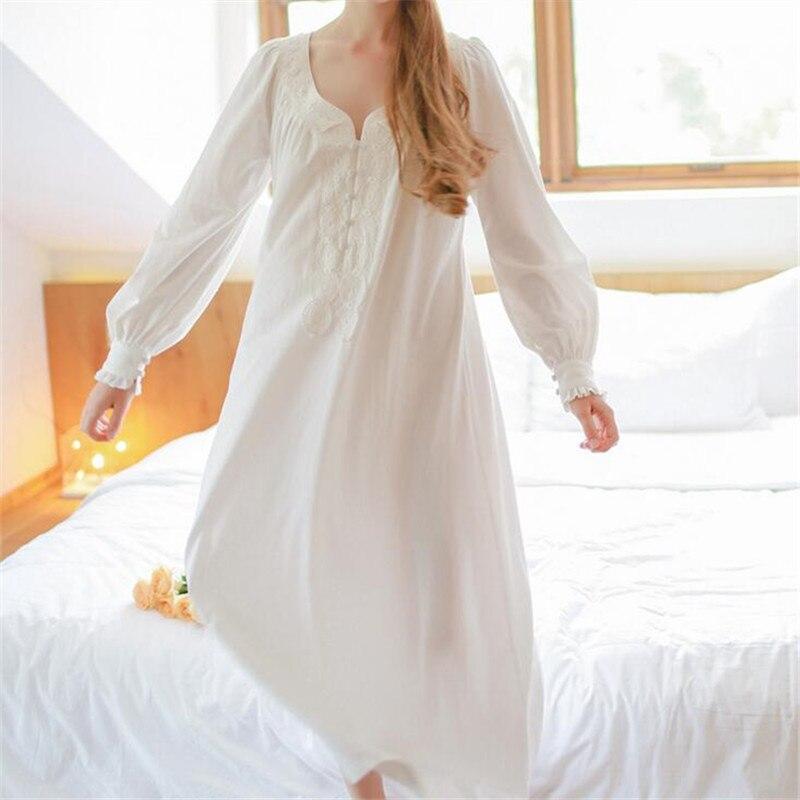 2017 Vintage Long White Nightgowns Women Sleep Lounge V-neck Cotton ...