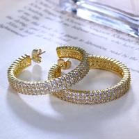 Hoop earring for statement 37 mm diameter Micro setting Cubic Zirconia allied express Big Circle Hoop Earring bijoux Jewelry