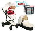 Russian frete grátis Mãe Hot foofoo carrinhos de Alta paisagem carrinho de bebê pode sentar pode mudar em dormir cesta de Couro