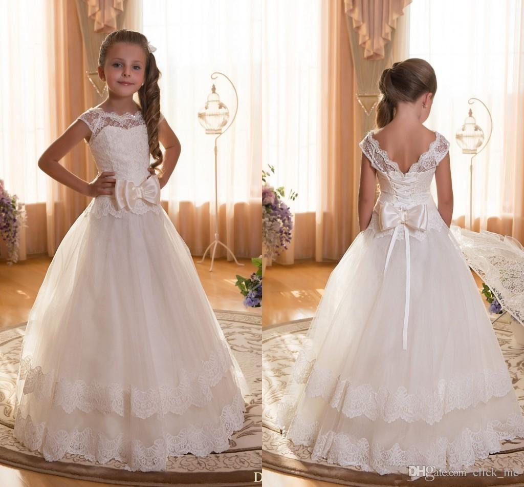 2016 Ivory Flower Girl Dresses 2016 Sheer Neck Layers Lace Girls Pageant Dresses For Weddings Bow Birthday Communion Dress FD31
