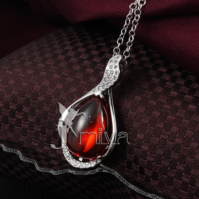 famous brand 925 Sterling silver red agate ruby necklace green opal Women jewelry Emerald Natural semi-precious stones Garnet