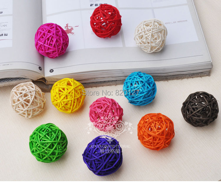 60pcs Size 3cm Mixed Color Handmade Bamboo Wicker Rattan Balls Basket Christmas Home Wedding Ornament Decoration