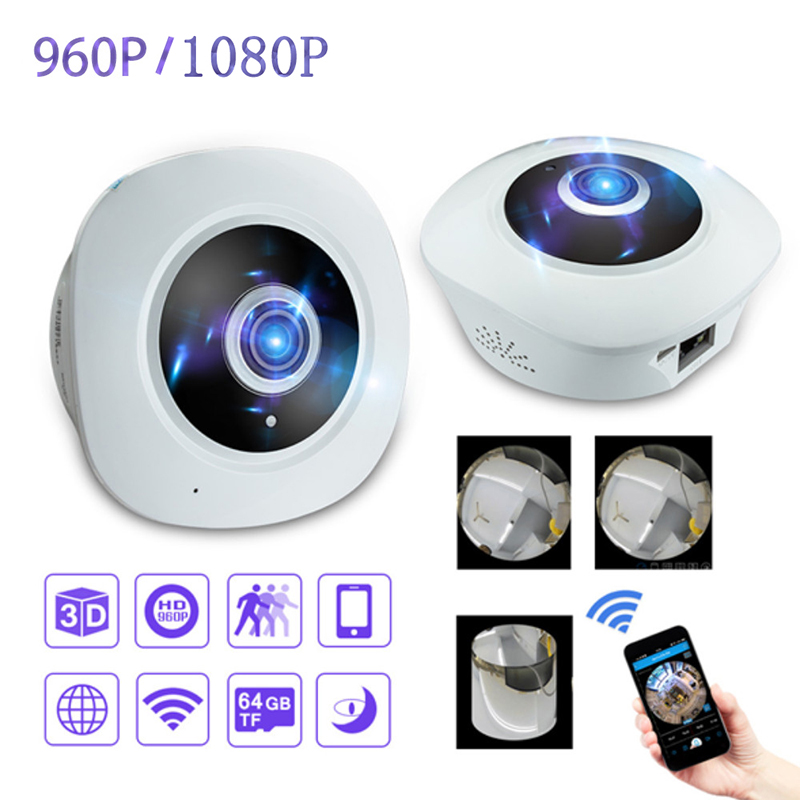 960P/1080P HD  Fisheye VR Panoramic Camera HD  Wireless Wifi IP Camera Home Security Surveillance Home Alarm System CCTV Camera new hd 3mp led bulb light wireless camera fisheye panoramic wifi network ip home security camera system for ios android p2p