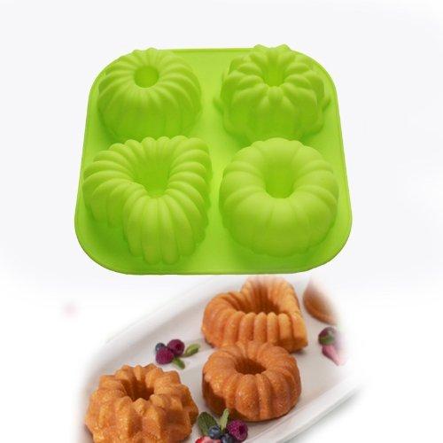 4 Cavity Mini Bundt Cake Pudding Jello Moulds Pan Cupcake