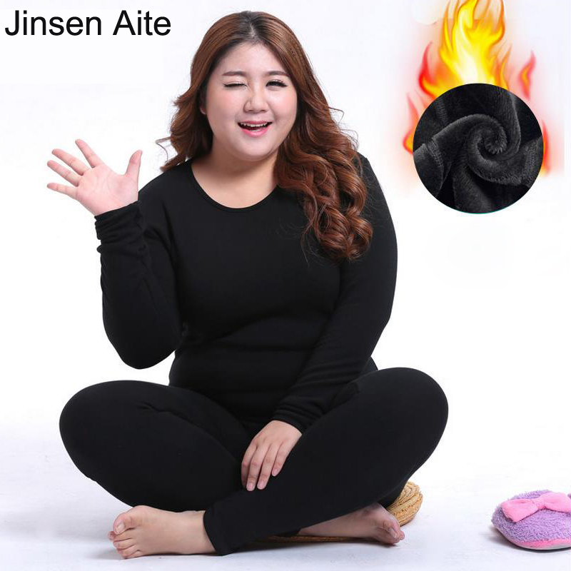 Jinsen Aite New Winter Women's Fleece Thick Warm Cotton Thermal Underwear Sets Large Size Slim Long Johns Plus Size XL-6XL JS69