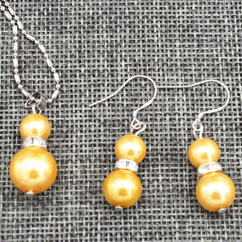 AA New-8-12mm-Golden-Sea-shell-Pearl-Wedding-Pendants-Necklace-Earrings-Set-AAA