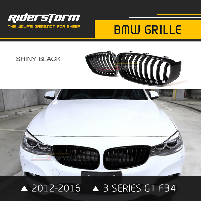Replacement F34 Carbon Grill 3 Series GT Front Kidney Grille Gran Turismo ABS for BMW 320i 330i 340i 2012-2016 One Slat single grid gloss black front bumper grill replacement for bmw 3 series f34 gt gran turismo 320i 328i 335i 2013 2014 2015 2016