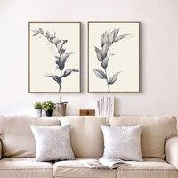 Haochu blanco negro moderno planta de maíz lienzo pintura abstracta paisaje rural arte cartel cuadros colgantes para decoración del hogar