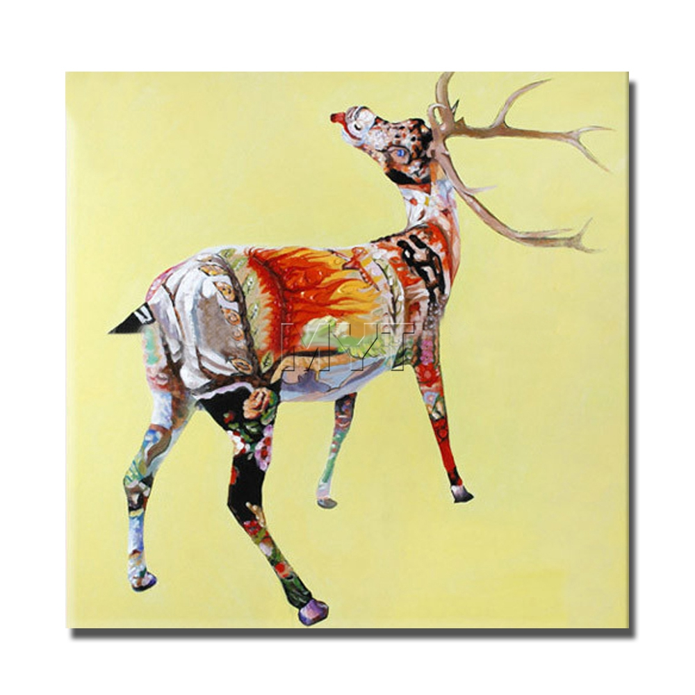 Abstract oil painting on canvas african art decorative deer animal ...