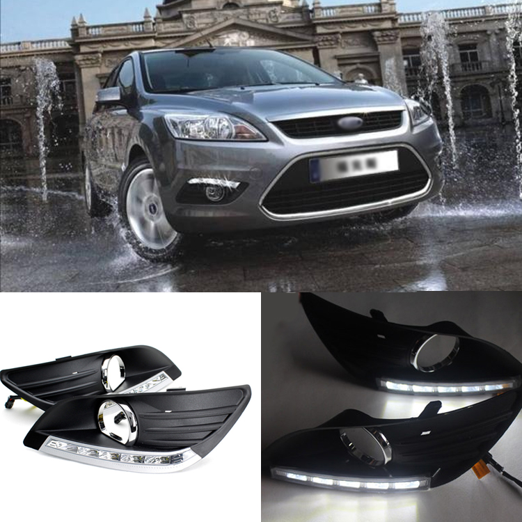 Ownsun Brand New Updated LED Daytime Running Lights DRL With Black Fog Light Cover For Ford Focus Sedan ownsun new style tear drop led projector lens headlight for new ford focus 2012 2013