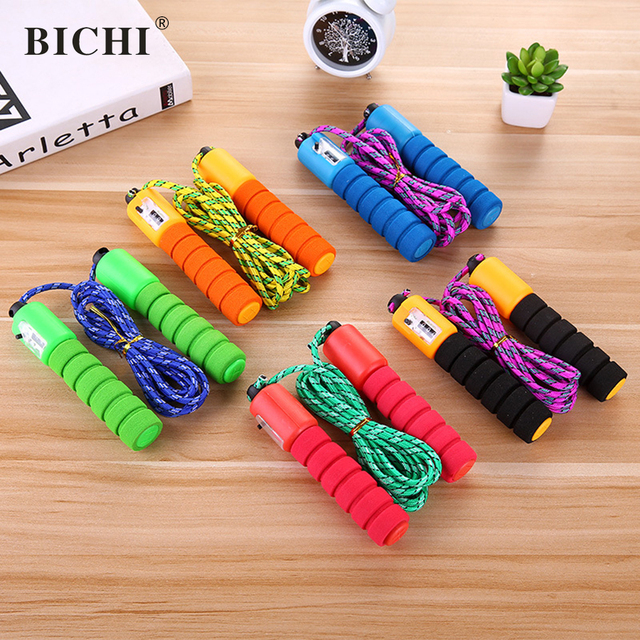 BICHI Skipping Rope Counter Jumping Rope Training Sponge Handle Workout Fitness Gym Rope Equipment Jump Rope Corda Crossfit