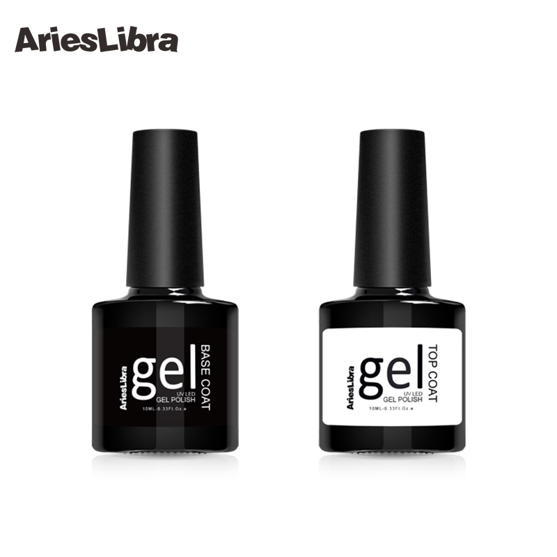 AriesLibra 10 ml Nail Gel Top Coat Top it off & Base Coat Foundation for Long Lasting Nail Gel Nails UV Gel Polish Nail Polish ...