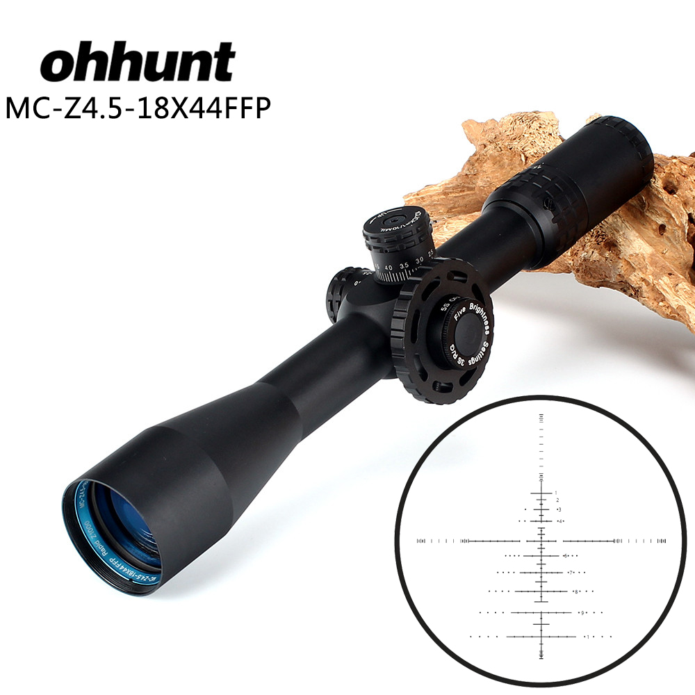 ohhunt MC-Z 4.5-18X44 FFP First Focal Plane Hunting Optical Riflescope Side Parallax Z1000 Glass Etched Reticle Lock Reset Scope цена