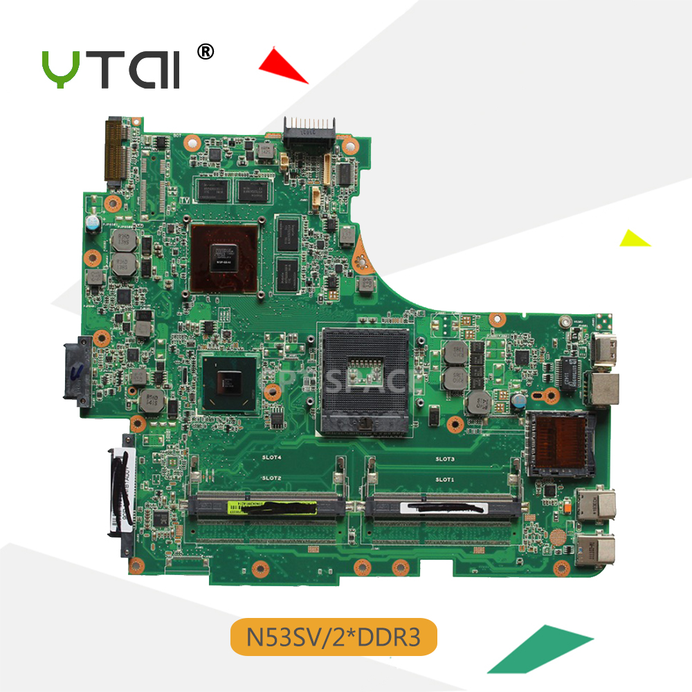 YTAI For Asus N53S N53SV laptop motherboard 2*DDR3 slots  REV:2.2 HM55 USB3.0 mainboard fully tested