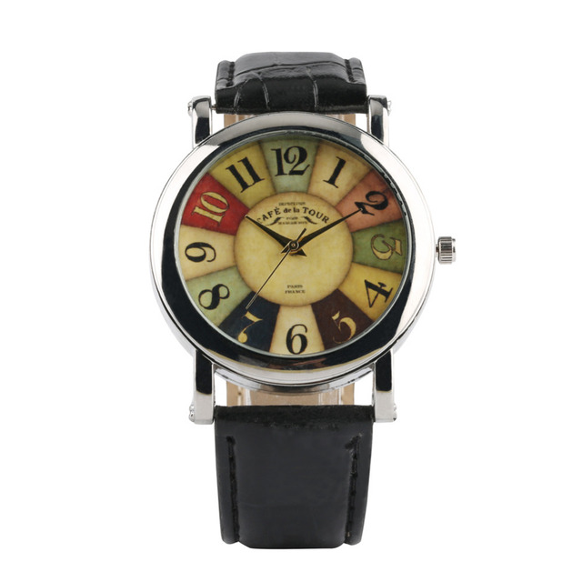 Fashion Business Wristwatch Men Top Quartz Watches Special Colorful Dial Design Leather Strap Male Daily Accessories Hot Clock