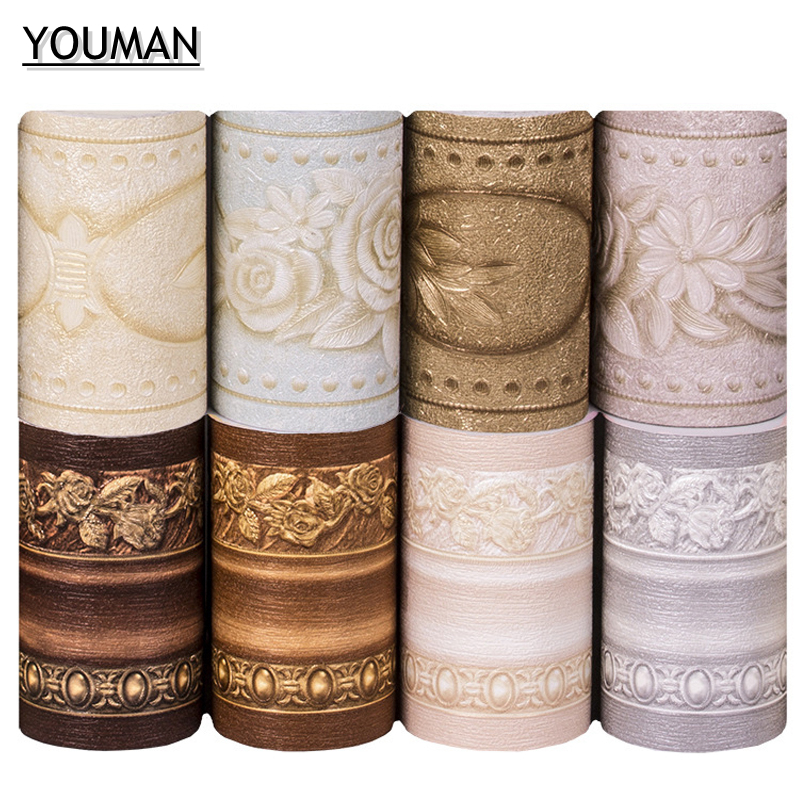 Wallpapers YOUMAN Wallpaper Borders PVC Wall Stickers Vinyl Waterproof Home Decor Emboss Kids Room Bathroom Self Adhesive DIY sv
