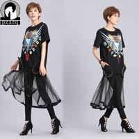 Harajuku Hip Hop Summer New T Shirt Women Eagle Letter Print Sequins Bead Mesh Short Sleeve