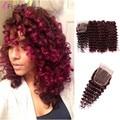 3 связки с закрытием свободная волна Бордовый Свободная Волна Бразильский Распущенными волосами Глубокая Волна Вьющиеся Девственные Волосы 99J Красный Спираль переплетения