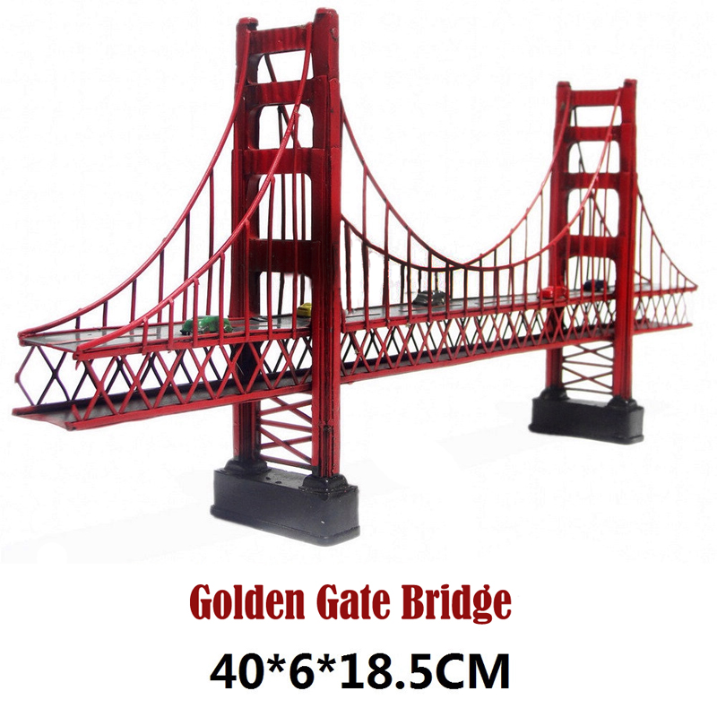 New Red metal model 3d Golden Gate Bridge California USA Simulation Diecast Handmade metal crafts for decor collection gift retro tinplate metal motocross models collection classic handmade arts and crafts dirt bike model