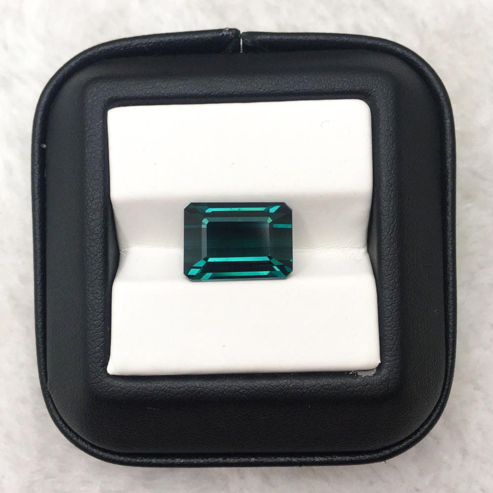MELE High quality natural blue tourmaline for jewelry making,14.45X10x7. 11mm 11.18ct Square cut loose gemstone DIY main stone