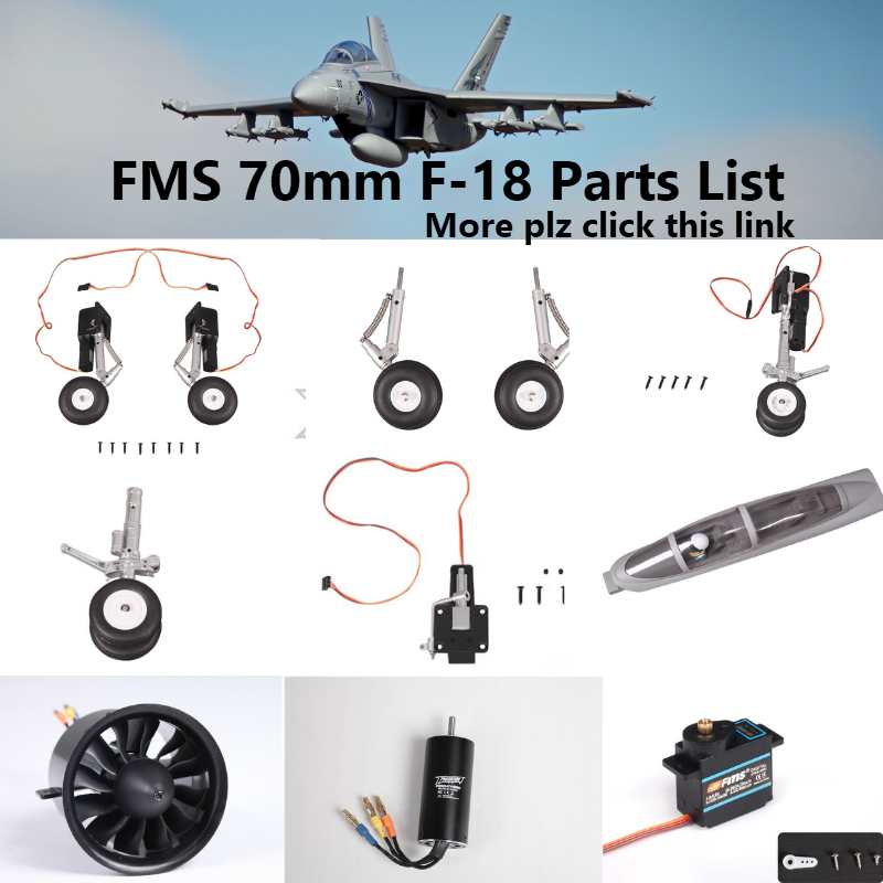 FMS 70mm F-18 F18 EDF Ducted Fan Jet Parts Landing Gear Set Retract Motor ESC Servo Canopy RC Airplane Model Plane Aircraft