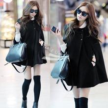 Korea Women coat Charming Winter Casual Cloak Coat Cape Poncho woolen Coat Warm Jacket New black free shipping