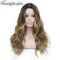Strong Beauty Ombre Wig Natural Curly Synthetic Capless Full Wigs Long Blonde With Dark Root Hair