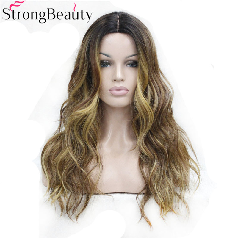 Strong Beauty Ombre Wig Wavy Synthetic Capless Full Wigs Long Blonde With Dark Root Hair