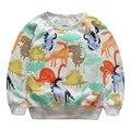 Bebê Meninos Moletons 2016 Nova Dinosaur Impresso Hoodies de Algodão de Manga Longa Camisas Dos Miúdos Bonitos Outwear Roupas Outono 3-7 T GT37