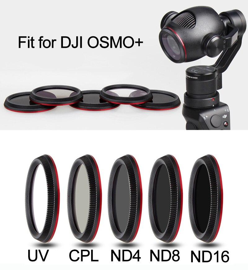 OSMO Plus Filtro de lente UV CPL ND4 ND8 ND16 para DJI OSMO + de cardán estabilizador de cámara de polarización filtro de densidad neutra Kits