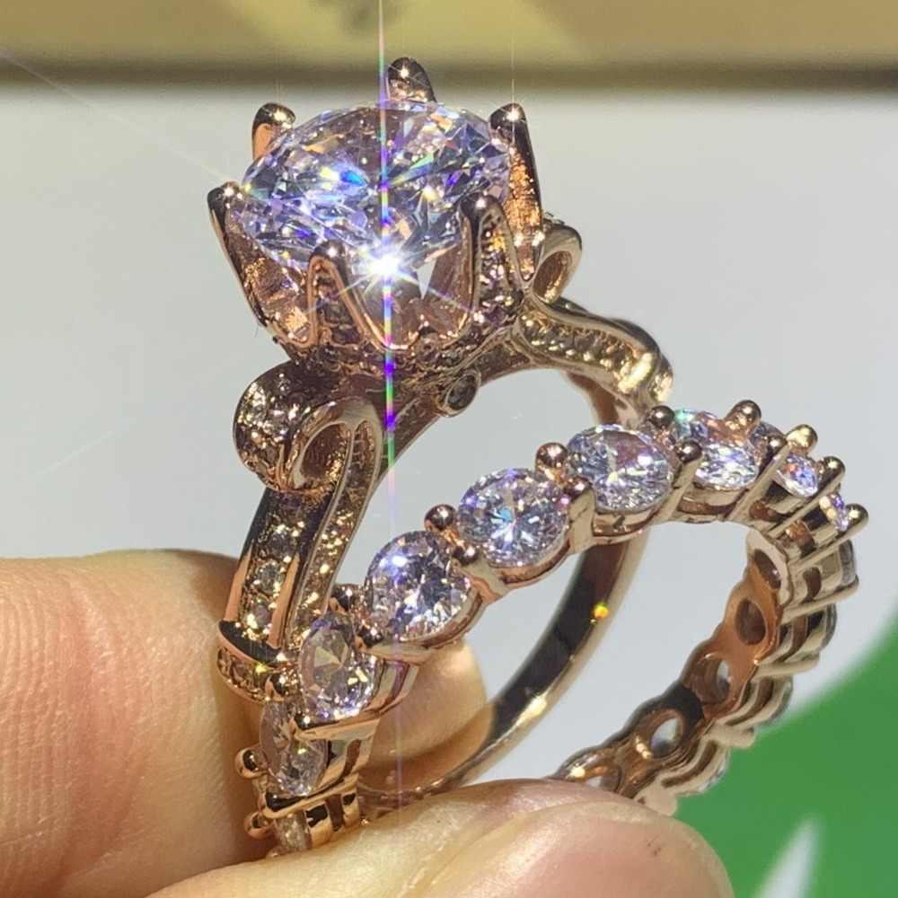Drop Shipping wysokiej jakości klasyczna luksusowa biżuteria 925 srebro i różowe złoto wypełnić okrągły Cut 5A CZ pierścionek w kształcie korony ślubnej zestaw