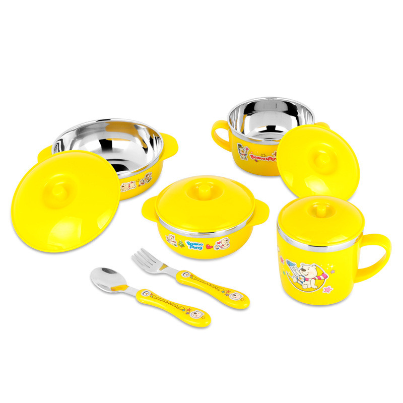Cute Stainless Steel  Children Tableware Set Baby Bowl Food Container  Eating Set Lovely Learning Dishes  Spoon Fork Bowl Set (4)