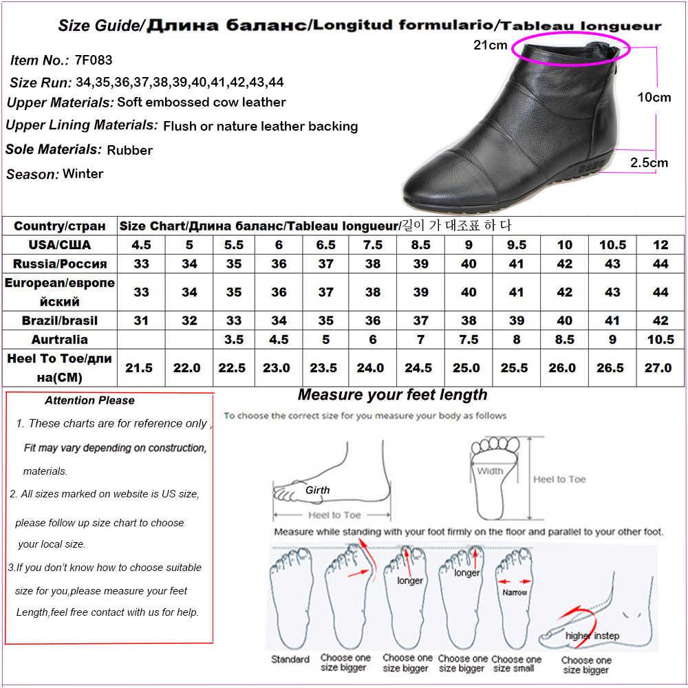 2018 moda yarım çizmeler kadınlar için hakiki deri ayakkabı kadın siyah anne kadın ayakkabı yuvarlak ayak yumuşak kaymaz daireler artı boyutu 44